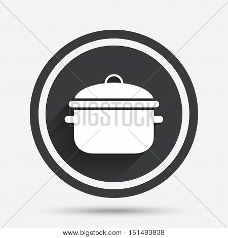 Cooking pan sign icon. Boil or stew food symbol. Circle flat button with shadow and border. Vector