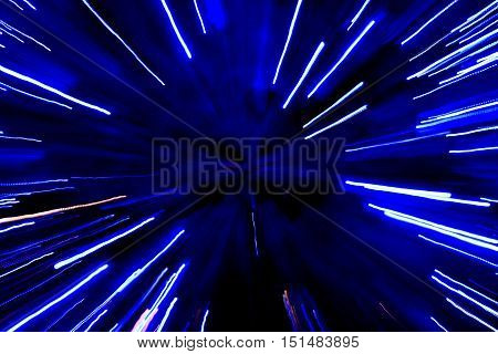Abstract speed technology blue background. Space travel
