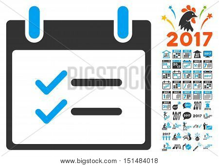 Check Items Calendar Day icon with bonus calendar and time management symbols. Vector illustration style is flat iconic symbols, blue and gray colors, white background.