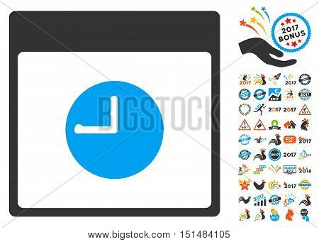 Clock Calendar Page icon with bonus calendar and time management design elements. Vector illustration style is flat iconic symbols, blue and gray colors, white background.