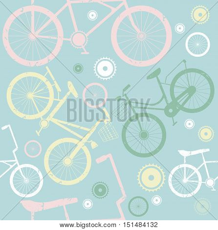 Seamless pattern with stylish bicycles. Stylish template can be used for backgrounds, textile, covers and more creative designs.