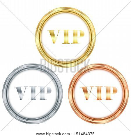 vector set of gold silver and bronze round badge with the inscription VIP on a white background can be used as a medal seal label