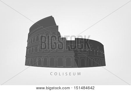 illustration of Roman Colosseum isolated on white background