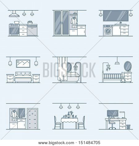 interior design set. Linear icons for interior design isolated on a dark background. Bathroom, hallway, kitchen, living room, nursery and other facilities. Vector illustration