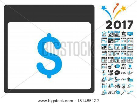 Dollar Currency Calendar Page pictograph with bonus calendar and time management pictograph collection. Vector illustration style is flat iconic symbols, blue and gray colors, white background.