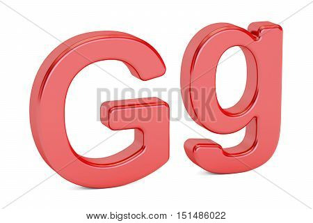 English letter G alphabet 3D rendering isolated on white background