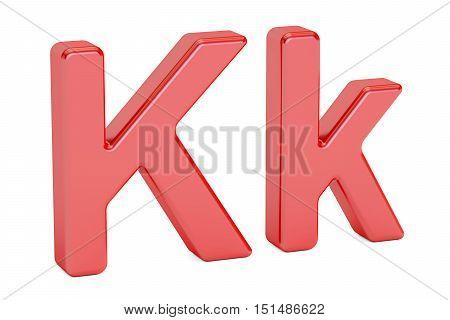 Red letter K alphabet 3D rendering isolated on white background