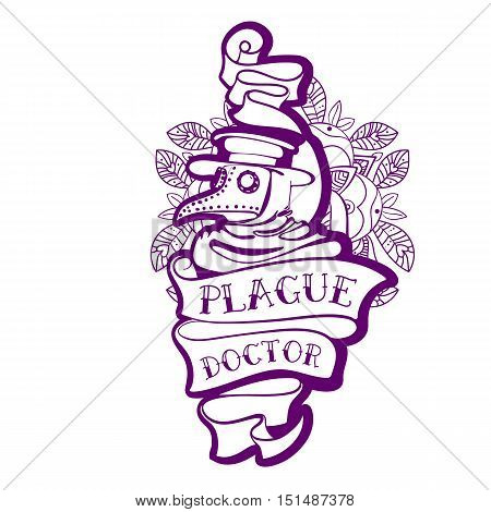Plague Doctor. Tattoo in the style of the old school. Doctor in a bird mask and hat. Old tape. For prints posters t-shirts bags covers smartphones