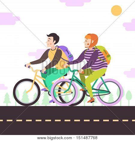 Brunette boy and red bob hair girl with backpacks on bikes vector illustration.