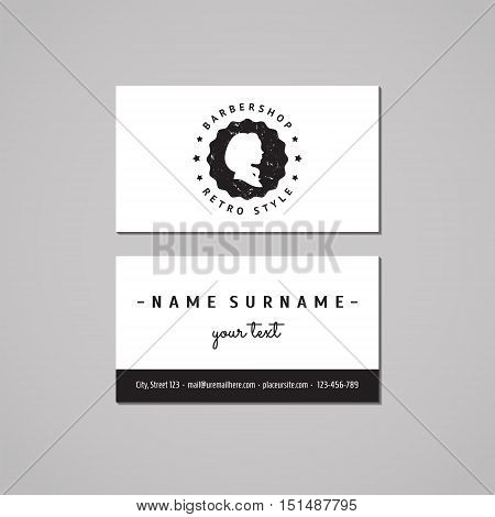 Barbershop (hair salon) business card design concept. Logo-badge with long hair woman profile and stars. Vintage hipster and retro style. Black and white.
