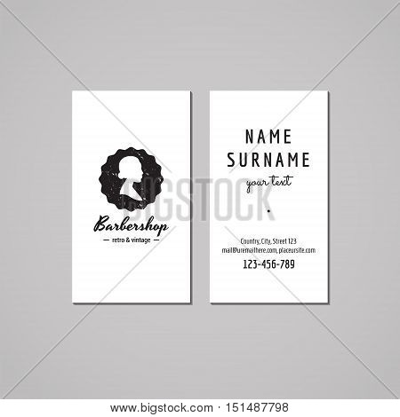 Barbershop (hair salon) business card design concept. Logo-badge with hair bun woman profile. Vintage hipster and retro style. Black and white.
