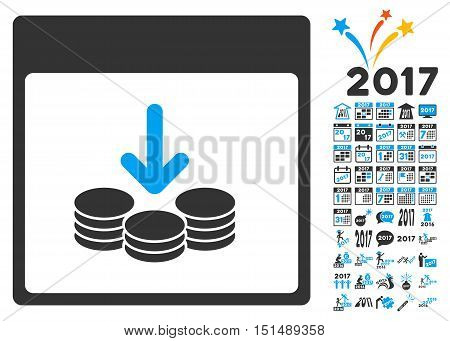 Get Coins Calendar Page pictograph with bonus calendar and time management pictures. Vector illustration style is flat iconic symbols, blue and gray colors, white background.