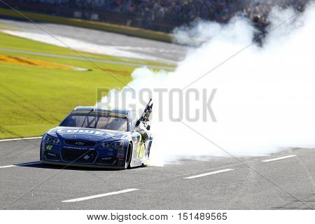 Concord, NC - Oct 09, 2016: Jimmie Johnson (48) wins the Bank of America 500 at the Charlotte Motor Speedway in Concord, NC.