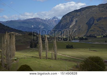 Rural landscape of the Manihuales River Valley along the Carratera Austral in the Aysen Region of southern Chile.
