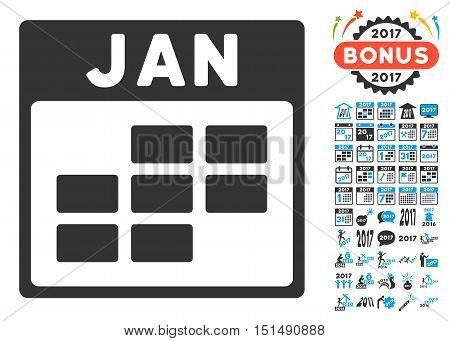 January Calendar Grid icon with bonus calendar and time management symbols. Vector illustration style is flat iconic symbols, blue and gray colors, white background.