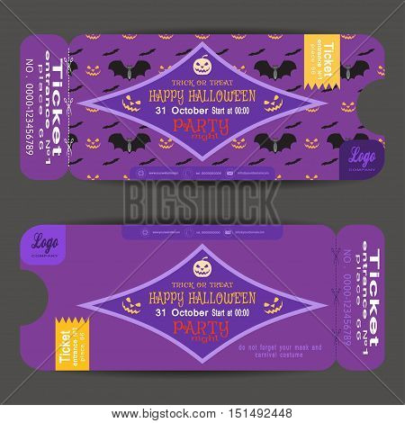 Ticket to a Halloween party on the lilac background with pattern vector illustration.