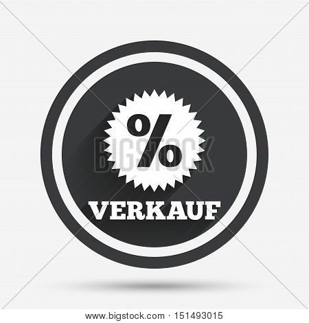 Verkauf - Sale in German sign icon. Star with percentage symbol. Circle flat button with shadow and border. Vector