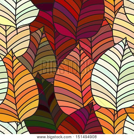 Seamless background with colorful autumn leaves. Vector illustration. Repeating texture with floral motif.