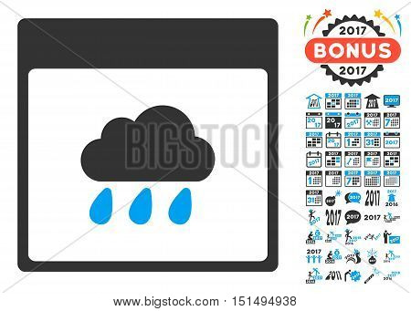 Rain Cloud Calendar Page pictograph with bonus calendar and time management pictograph collection. Vector illustration style is flat iconic symbols, blue and gray colors, white background.