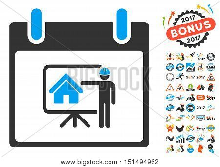 Realty Developer Calendar Day pictograph with bonus calendar and time management pictures. Vector illustration style is flat iconic symbols, blue and gray colors, white background.