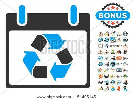 Recycle Calendar Day pictograph with bonus calendar and time management symbols. Vector illustration style is flat iconic symbols, blue and gray colors, white background.