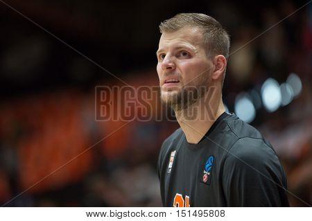 VALENCIA, SPAIN - OCTOBER 12th: Taylor Braun during Eurocup match between Valencia Basket and Ratiopharm Ulm at Fonteta Stadium on October 12, 2016 in Valencia, Spain