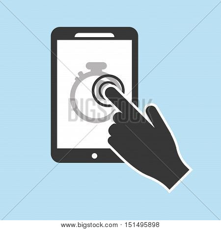 modern cellphone with chronometer and hand icon image vector illustration