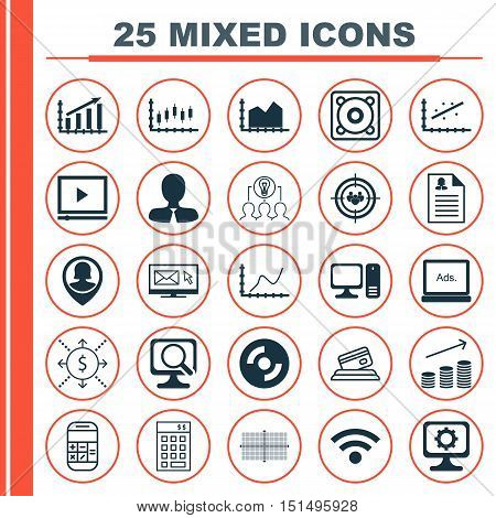 Set Of 25 Universal Icons On Female Application, Wireless, Focus Group And More Topics. Vector Icon