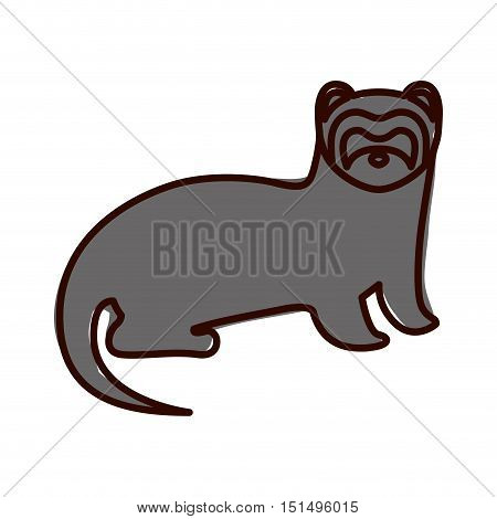 silhouette with nutria wild animal color vector illustration