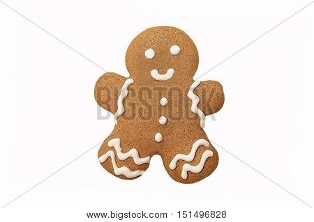 Gingerbread man isolated on white background close up