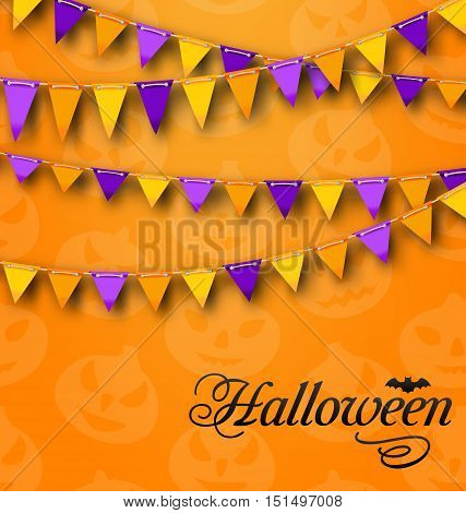Illustration Decoration with Colorful Bunting Pennants for Halloween Party. Celebration Background - Vector