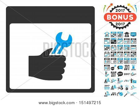 Spanner Service Hand Calendar Page icon with bonus calendar and time management symbols. Vector illustration style is flat iconic symbols, blue and gray colors, white background.