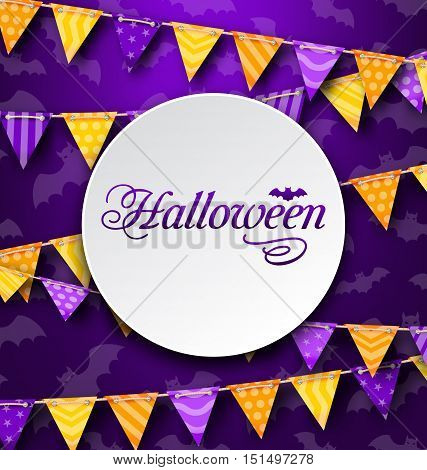 Illustration Halloween Greeting Card with Colored Bunting, Bright Background - Vector