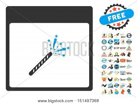 Sparkler Firecracker Calendar Page icon with bonus calendar and time management graphic icons. Vector illustration style is flat iconic symbols, blue and gray colors, white background.