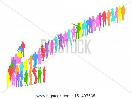 Many People Arrow made of Vector Silhouettes