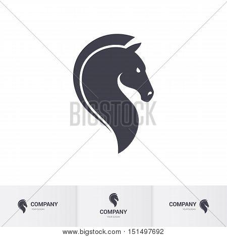 Stylized Dark Horse Head for Mascot Logo Template on White