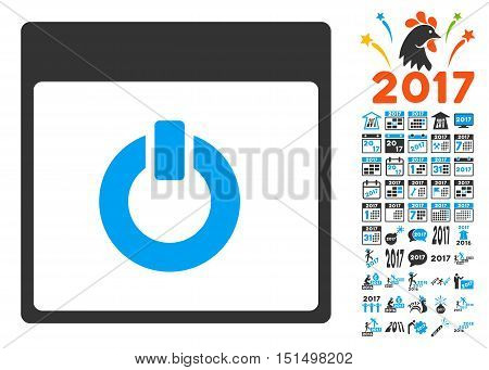 Switch on Calendar Page pictograph with bonus calendar and time management images. Vector illustration style is flat iconic symbols, blue and gray colors, white background.