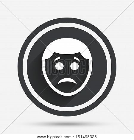 Sad face sign icon. Sadness depression chat symbol. Circle flat button with shadow and border. Vector
