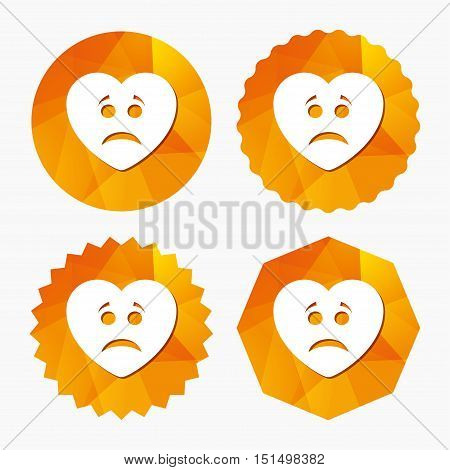 Sad heart face sign icon. Sadness depression chat symbol. Triangular low poly buttons with flat icon. Vector