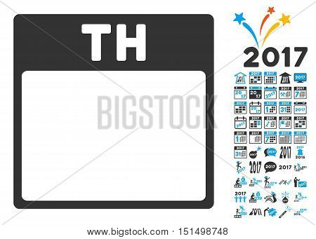 Thursday Calendar Page pictograph with bonus calendar and time management symbols. Vector illustration style is flat iconic symbols, blue and gray colors, white background.