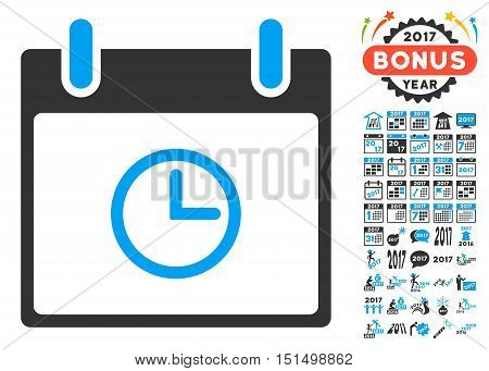 Time Calendar Day icon with bonus calendar and time management graphic icons. Vector illustration style is flat iconic symbols, blue and gray colors, white background.