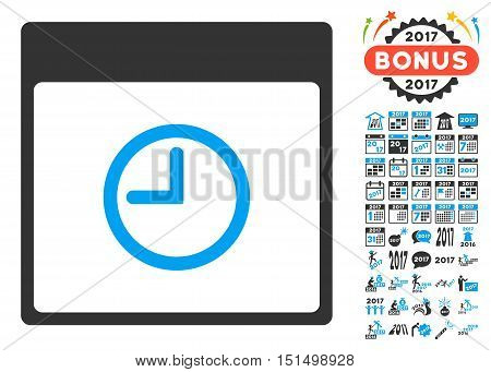 Time Calendar Page pictograph with bonus calendar and time management graphic icons. Vector illustration style is flat iconic symbols, blue and gray colors, white background.