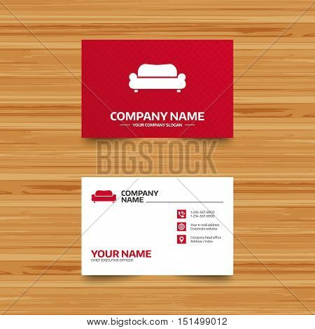 Business card template. Comfortable sofa sign icon. Modern couch furniture symbol. Phone, globe and pointer icons. Visiting card design. Vector