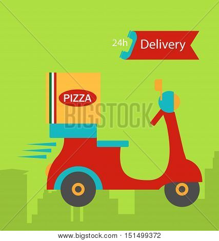 Illustration Colorful Banner Pizza Delivery with Pizza Box and Scooter - Vector