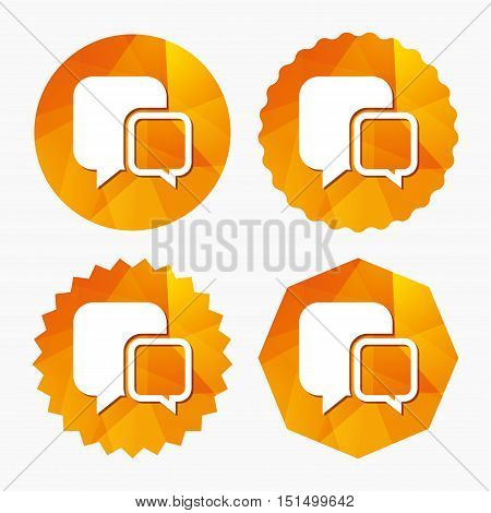 Chat sign icon. Speech bubbles symbol. Communication chat bubbles. Triangular low poly buttons with flat icon. Vector
