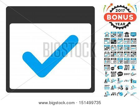 Valid Day Calendar Page icon with bonus calendar and time management symbols. Vector illustration style is flat iconic symbols, blue and gray colors, white background.