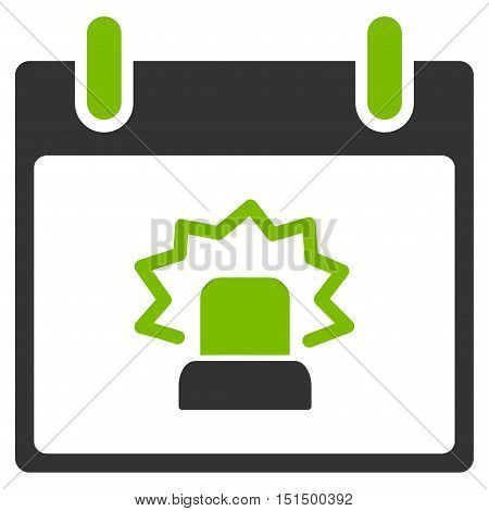 Alert Calendar Day vector pictograph. Style is flat graphic bicolor symbol, eco green and gray colors, white background.