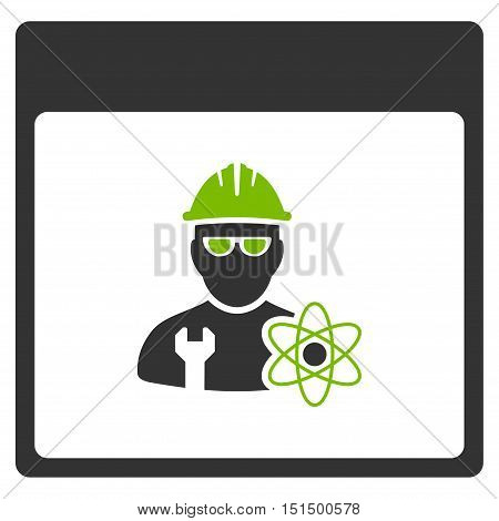 Atomic Engineer Calendar Page vector icon. Style is flat graphic bicolor symbol, eco green and gray colors, white background.