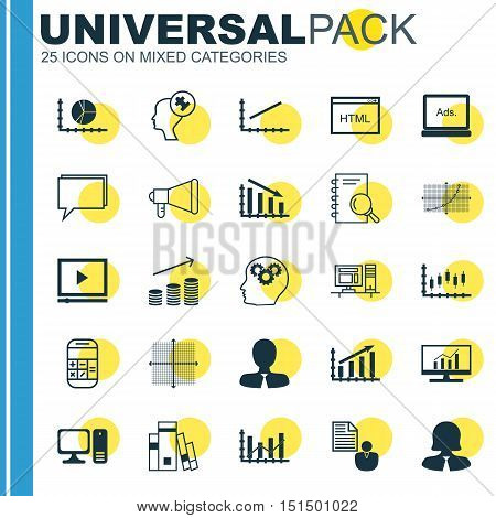 Set Of 25 Universal Icons On Profit Graph, Human Mind, Coins Growth And More Topics. Vector Icon Set