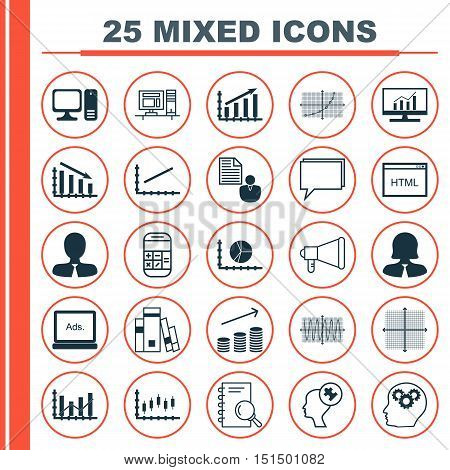 Set Of 25 Universal Icons On Circle Graph, Human Mind, Sinus Graph And More Topics. Vector Icon Set